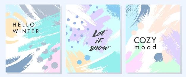 Уникальные художественные зимние открытки с нарисованными вручную формами и текстурами в мягких пастельных тонах. модный графический дизайн, идеально подходящий для принтов, листовок, баннеров, приглашений, специальных предложений и многого другого. векторные коллажи.