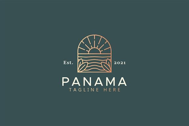 Уникальный пляж сансет бич природный логотип
