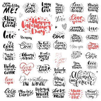Unique big set of love hand lettering for valentines day