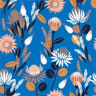 Unique blooming protea flowers in the garden full of botanical plants seamless pattern in vector design for fashion, wallpaper, wrapping and all prints