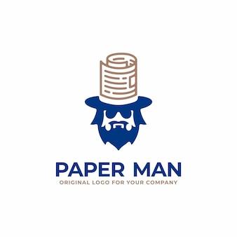 Уникальный бизнес-логотип с человеческой головой и концепцией бумажной шляпы