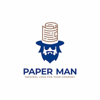 Unique business logo with human head and paper hat concept