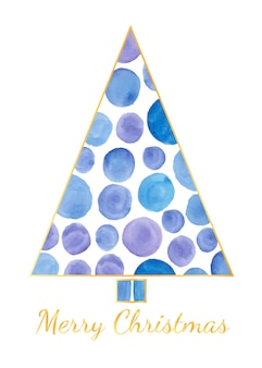 Unique christmas tree arranged from watercolor circle stain as background
