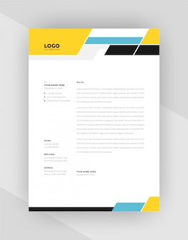 Unique concept corporate letterhead template design.