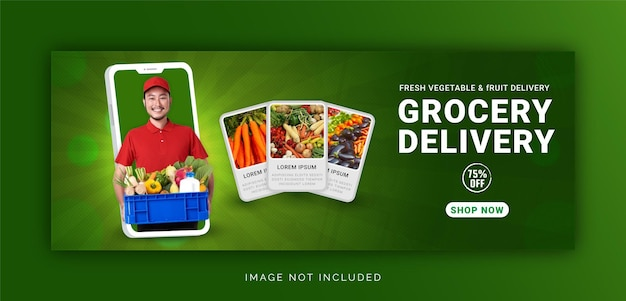Unique concept fresh vegetable and fruit grocery delivery promotion social media post template