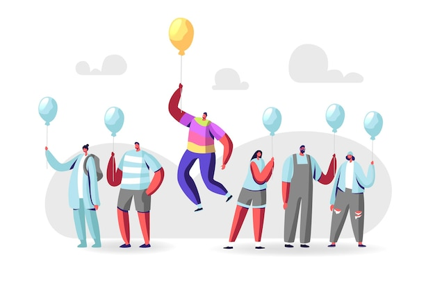 Unique concept. male character in colorful rainbow clothes flying on yellow balloon above crowd of people in identical blue shirts and balloons. outstanding individuality. cartoon vector illustration