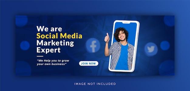 Unique concept social media post live for digital marketing promotion facebook cover template