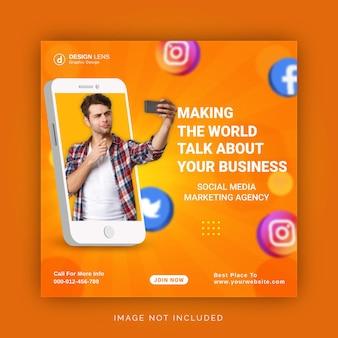 Unique concept social media post live for digital marketing promotion instagram template