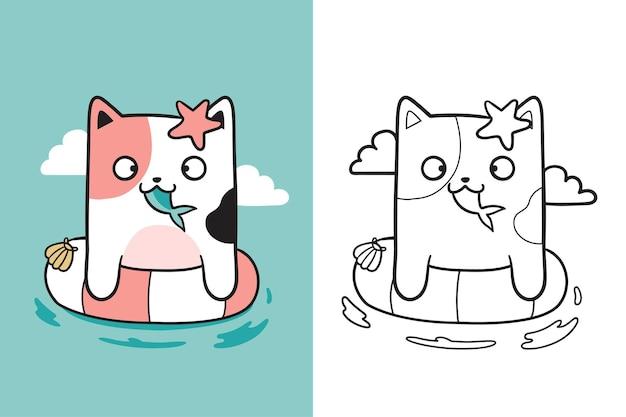 Unique cute cat swimming doodle
