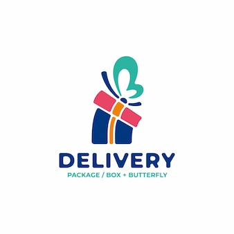 Unique delivery logo with package concept and butterfly wings