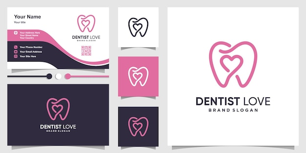 Unique dentist logo with love inside and business card design