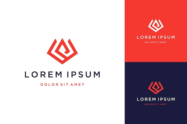독특한 디자인 로고 또는 모노그램 또는 이니셜 vp