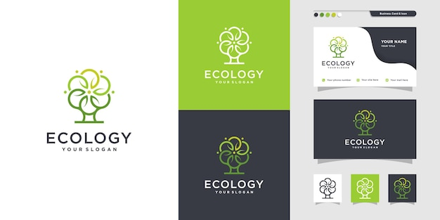 Unique ecology logo and business card design health care live life icon premium vector