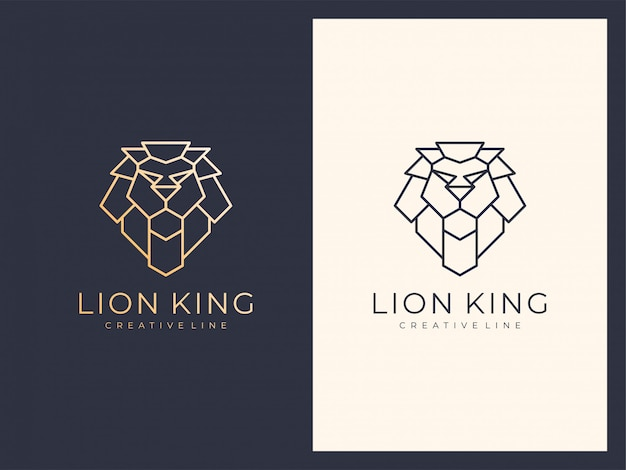Unique elegant luxury line lion logo