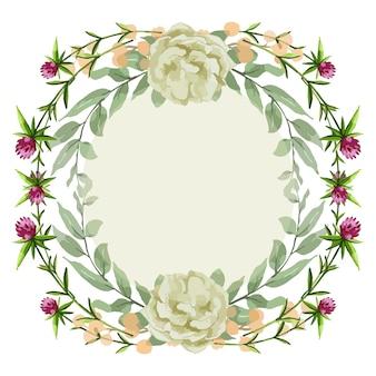 독특한 꽃과 잎 수채화 화환