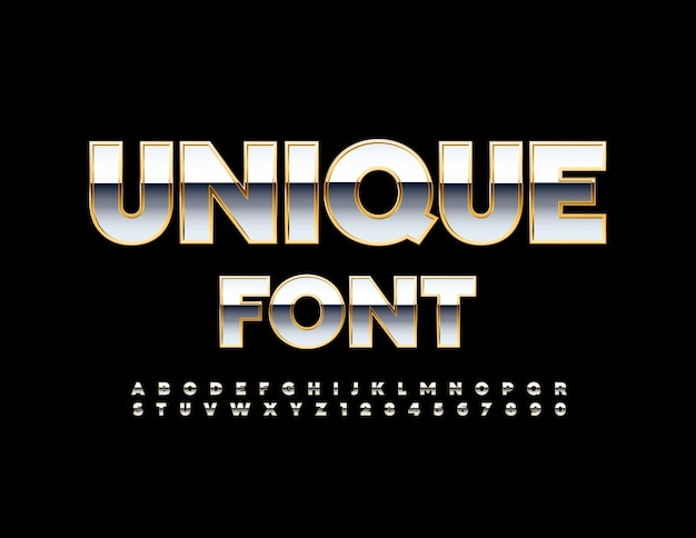 Unique font silver and gold shiny alphabet luxury glossy letters and numbers set
