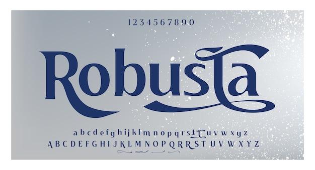 Swoosh 및 대체 알파벳이있는 독특한 글꼴