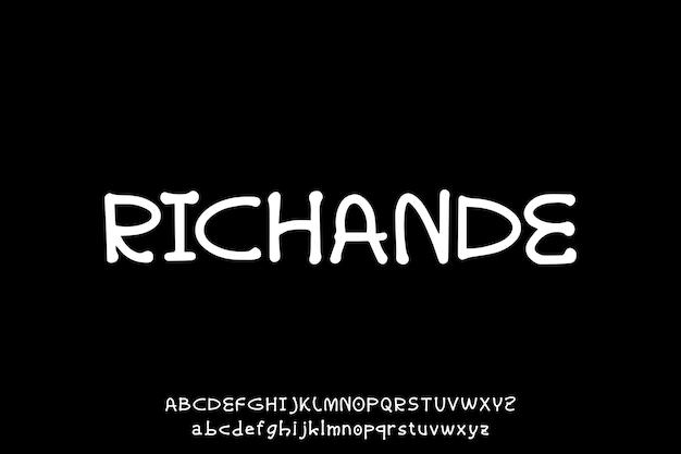 ユニークな手描きアルファベットベクトルセット