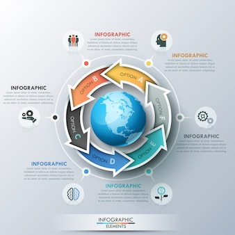 Unique infographic design layout with 6 lettered arrows placed around planet earth, icons and text boxes