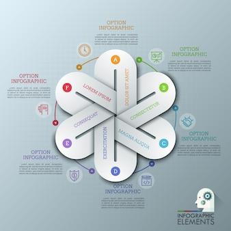 라운드 다이어그램, 얇은 선 그림 및 텍스트 상자에 함께 연결된 6 글자 요소와 독특한 infographic 디자인 템플릿.
