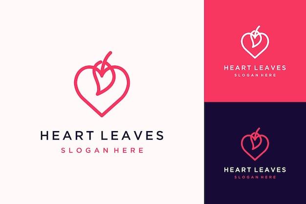독특한 로고 디자인 또는 잎이 있는 하트