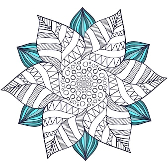 Unique mandala vector in floral style. circle zentangle for coloring book pages. round ornament pattern for henna tattoo design