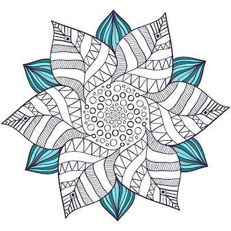 꽃 스타일의 독특한 만다라 벡터입니다. 책 페이지를 색칠하기위한 원 Zentangle. 헤나 문신 디자인을위한 둥근 장식 패턴 프리미엄 벡터