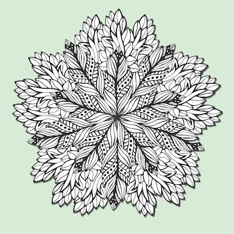Unique mandala with leaves. round zentangle for coloring book pages. circle ornament pattern for henna tattoo design