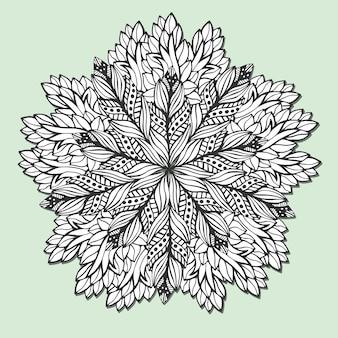 葉を持つユニークな曼荼羅。ブックページの色を付けるための丸みのある尖塔。ヘナタトゥーのデザインのための円の飾りのパターン