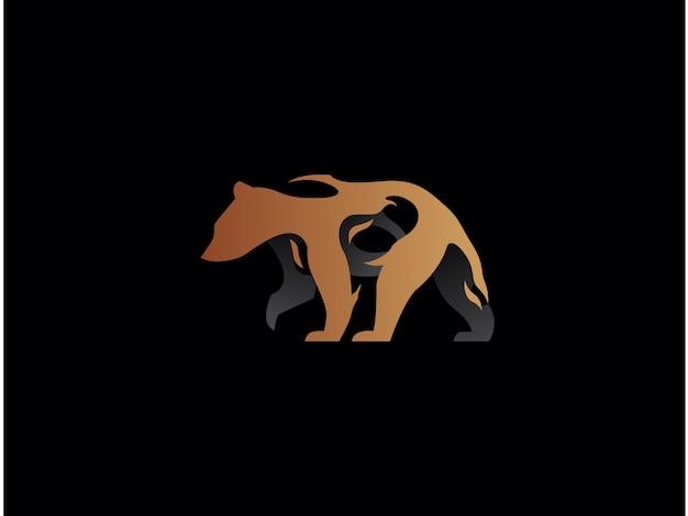 독특한 현대 곰 로고. 단순한