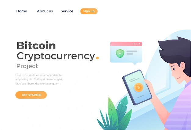 Unique modern flat design concept of bitcoin cryptocurrency for website and mobile website