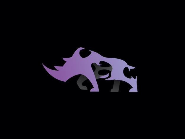 독특한 현대 코뿔소 로고. 단순한