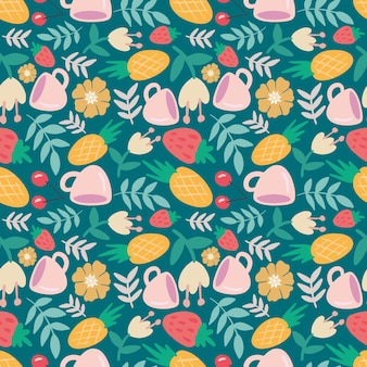 Unique pattern of food and cup hand drawing with icons and design elements