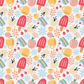 Unique pattern of food dessert hand drawing with icons and design elements
