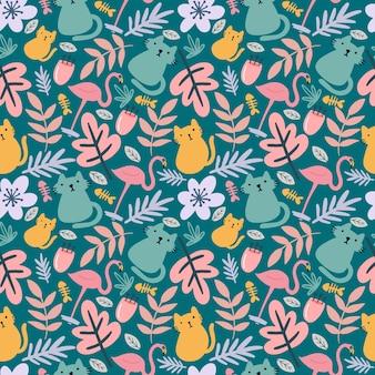 고양이 귀여운 동물의 독특한 패턴과 아이콘과 디자인 요소가 있는 잎 손 그리기