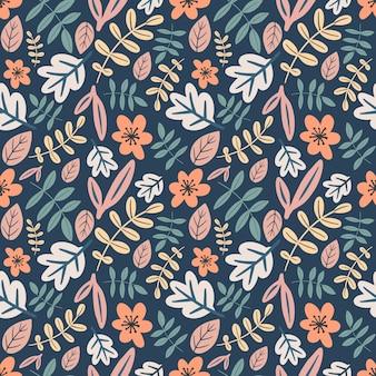 アイコンとデザイン要素で花と葉の手描きのユニークなパターン