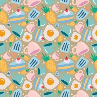 아이콘과 디자인 요소가 있는 음식 디저트 손 그리기의 독특한 패턴