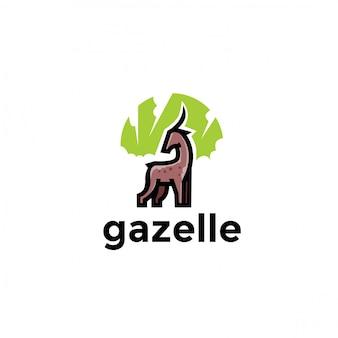 독특한 장난 가젤 동물 로고. 현대