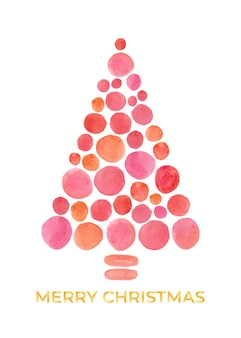 Unique polkadot watercolor christmas trees in orange and pink color