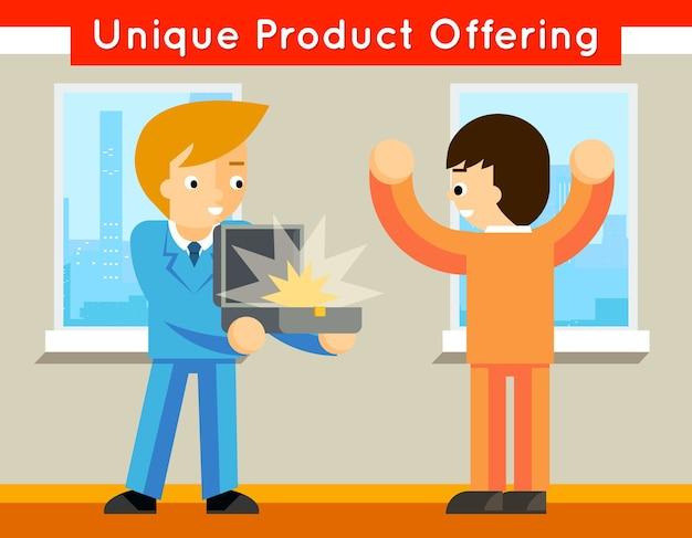 ユニークな製品の提供。販売と提供、販売促進と購入、特別事業、