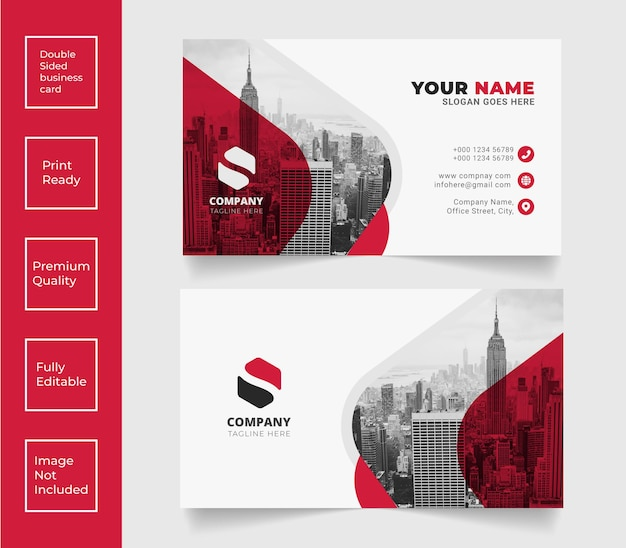 Unique professional business card vector red color template design