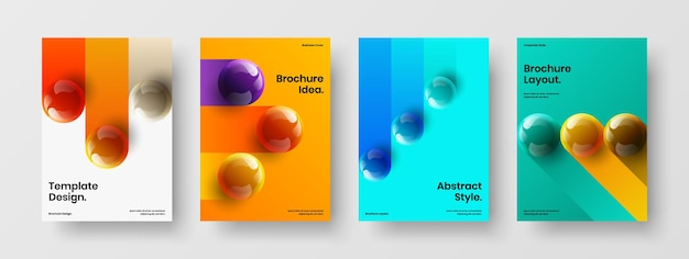 Unique realistic balls banner layout composition