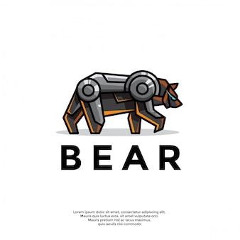 Unique robotic bear logo template