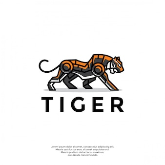 Unique robotic tiger logo template
