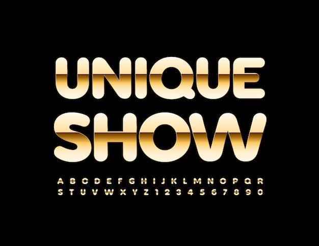 Unique show golden shiny alphabet letters and numbers set luxury style font