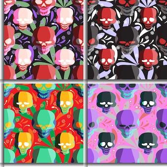 독특한 해골 원활한 패턴 꽃 배경 선물 포장 커버 케이스 타일 인쇄