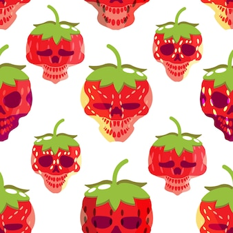 Unique strawberry and skull seamless pattern spooky colorful pictures fabric design gift wrapping