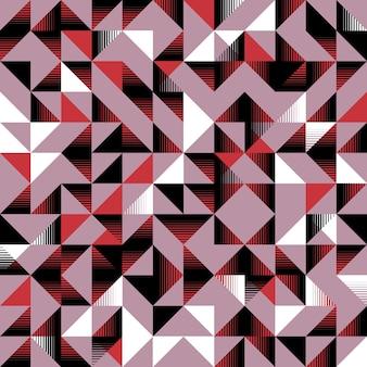 Уникальный треугольный бесшовный узор розовый черный и белый