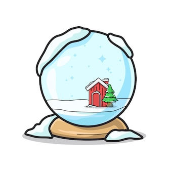 Unique winter ball for christmas gift in cute line art illustration