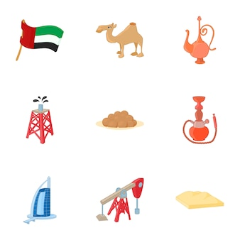 United arab emirates elements set, cartoon style